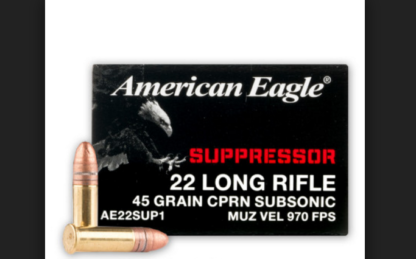 Federal American Eagle Suppressor 22 Long Rifle Ammo 45 Grain Copper Plated  LRN 500 Rounds